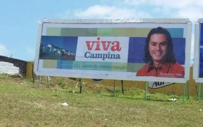Veneziano inicia campanha em outdoors e usa slogan de Ricardo Coutinho em CG
