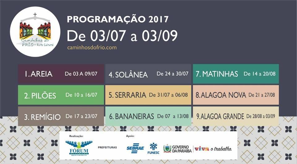 Divulgada programação da Rota Cultural Caminhos do Frio 2017, na Paraíba