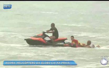 GLOBOCOP: Helicóptero da Rede Globo cai em praia do Recife e pelo menos duas pessoas morrem – VEJA VÍDEOS