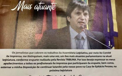 Pelo 6º ano Janduhy Carneiro é eleito um dos deputados mais atuantes da Paraíba