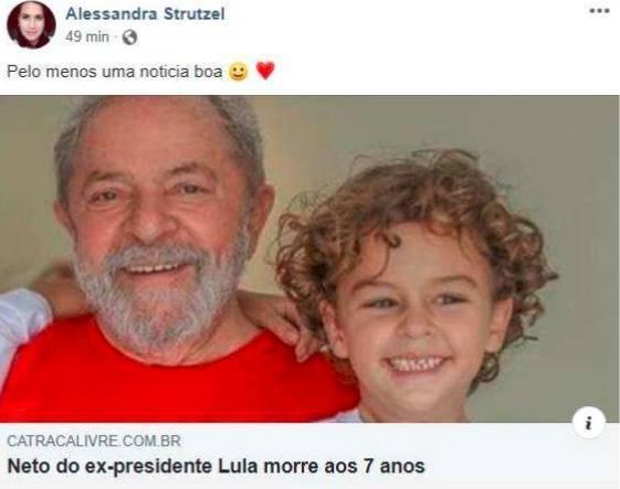 Lula processa mulher que comemorou a morte de seu neto