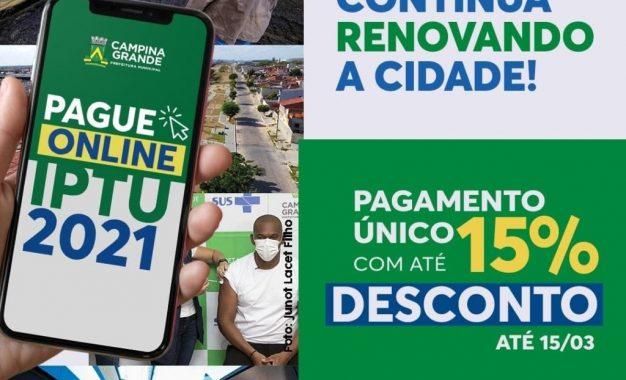 Prefeitura de Campina Grande amplia prazo para pagamento em cota única e contribuinte já pode baixar boletos pelo portal do Município